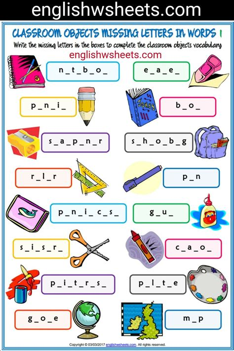 classroom objects esl printable missing letters in words