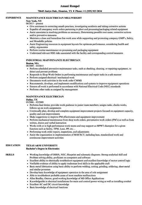 resume templates electrical maintenance maintenance electrician resume sles velvet