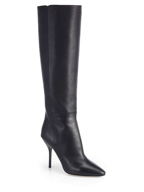 jimmy choo drape leather knee high boots in black lyst