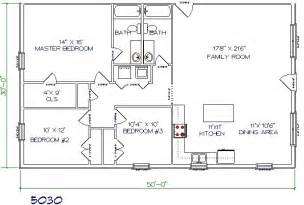 Barn House Floor Plans Texas Barndominiums 3bed 2 Bath 50 X30 1500 Sq Ft