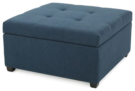 Blue Fabric Ottoman Carlyle Blue Fabric Storage Ottoman Modern Footstools And Ottomans By Gdfstudio