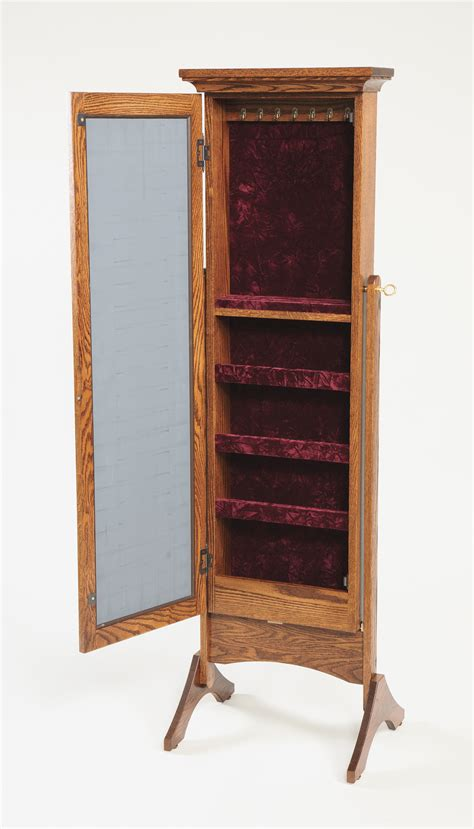 Oak Mirror Jewelry Armoire by Mirrored Jewelry Armoire Amish Valley Products