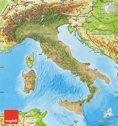 geographical map of italy satellite map of italy physical outside