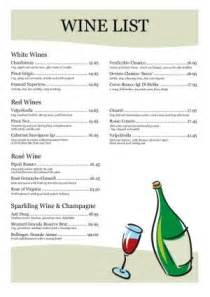 wine menu templates wine list template 003
