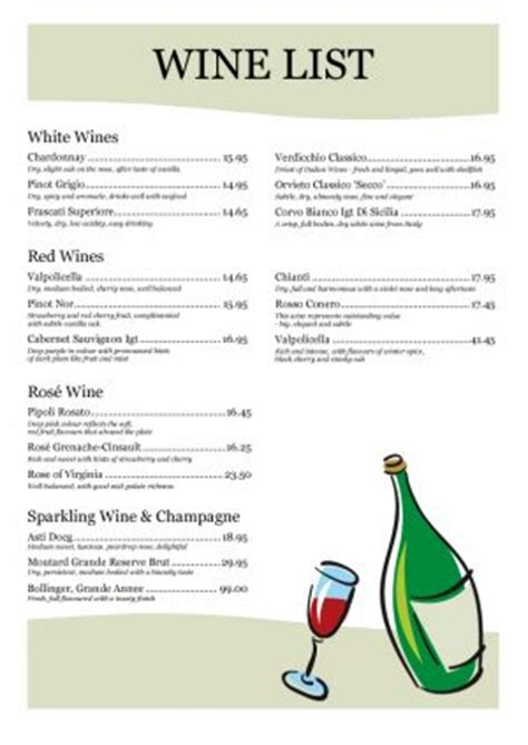 Free Wine List Template wine list template 003