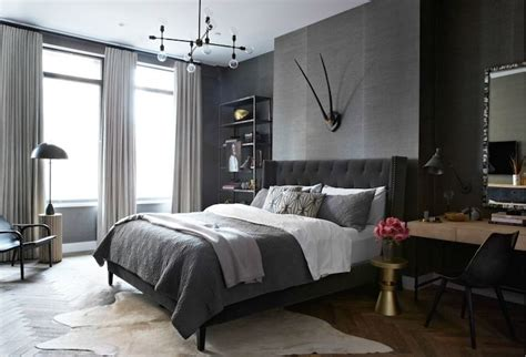 Dark Grey Bedroom by Dark Gray Walls Design Ideas