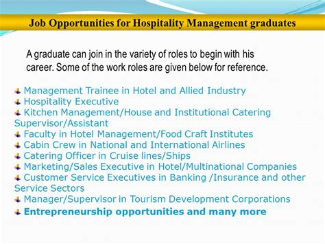 Career Opportunities Mba Hospitality Management week 1 4 update and develop hospitality industry knowledge