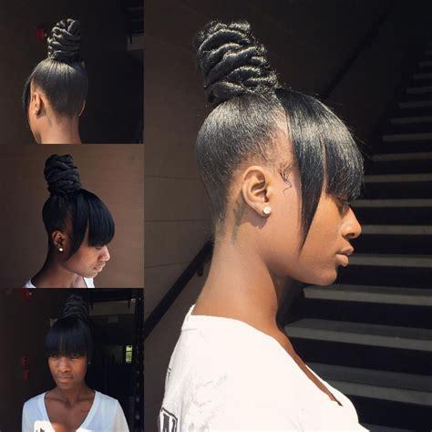 scoup bangs braid ponytail ninja bun and bang instaram brittanyslays 1 like