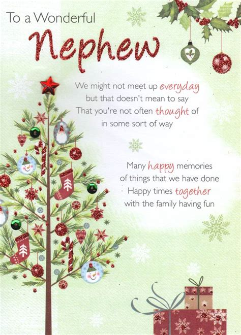 wonderful nephew christmas greeting card traditional cards lovely verse ebay