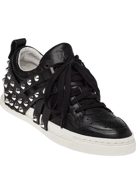 studded sneakers ash black leather studded sneaker in black lyst
