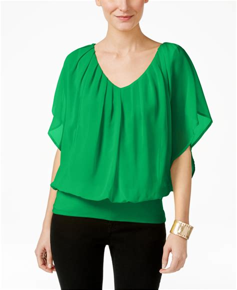30753 Chiffon Blouse Green lyst joseph a dolman sleeve chiffon blouse in green