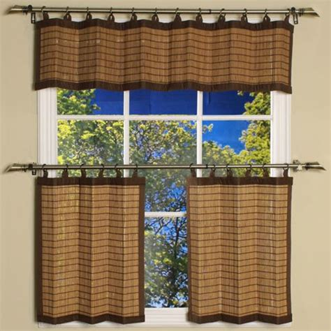 bamboo cafe curtains valance only for kitchen bamboo colonial brown ring tab