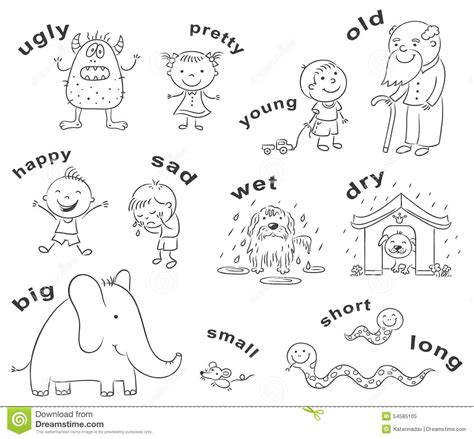 Sketches Synonym by Synonym Antonym Coloring Page Sketch Coloring Page