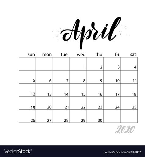 april monthly calendar   year royalty  vector