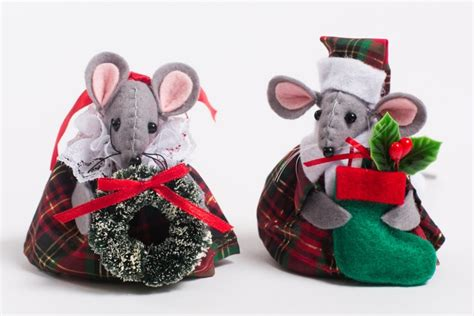 tartan christmas mice tree decorations