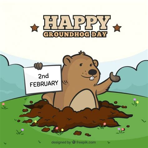 groundhog day free happy groundhog day illustration vector free