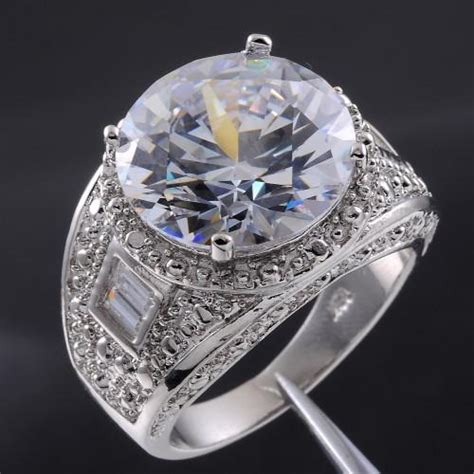 s big simulated white sapphire 18k gold