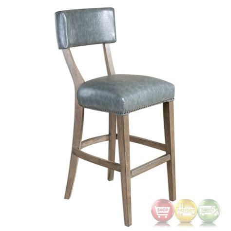 bar stool leather seat lekan bar stool with stony gray faux leather seat and