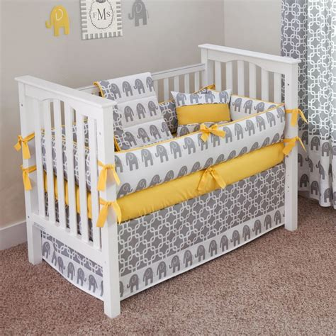 Grey And Yellow Crib Bumper ele yellow crib bedding set yellow curtains instead and alternative to elephant fabric eg