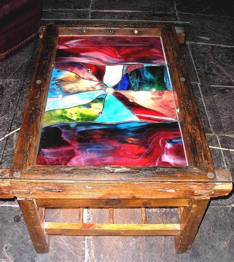 Stained Glass Coffee Table with Reclaimed Stained Glass Table Crafts Stained Glass And Mosaic