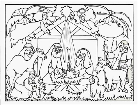 free coloring page of the nativity serendipity hollow nativity coloring book page
