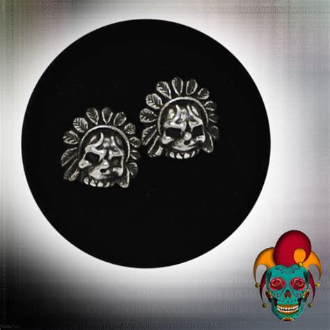 tattoo parlor earrings indian chief skull silver earrings village tattoo nyc