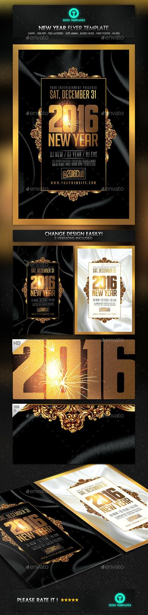 New Year Gold Luxury Flyer Template Flyer Template Year 2016 And New Year S Graphicriver Iii Flyer Template