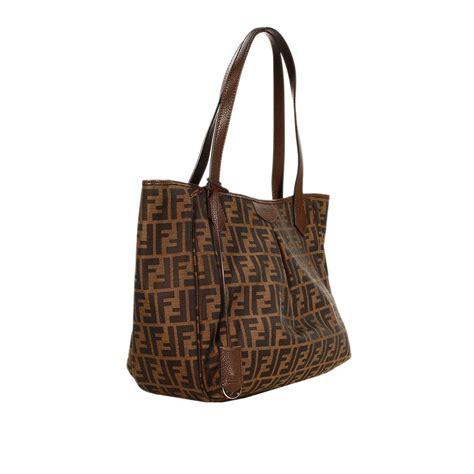 Fendi Brown Tweed Handbag by Fendi Handbag Zucca Shopping With Zip Big 30x40x15 Cm In