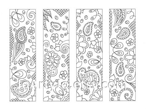 printable bookmarks black and white printable coloring bookmarks paisley zentangle inspired sheet