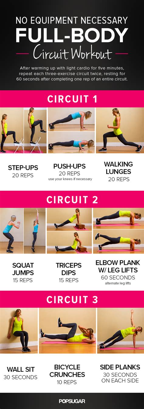 printable total no equipment workout popsugar fitness