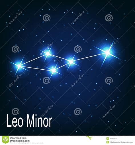 the constellation leo minor star in the night stock photo