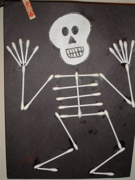 skeleton crafts q tip skeleton craft template myideasbedroom