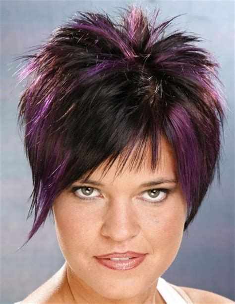 spikey bangs with long hair picture of short hairstyle with violet highlights on black