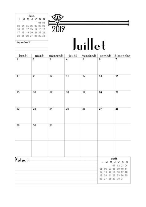 Calendrier de 2018-2019 mensuel à imprimer en pdf