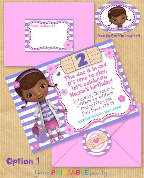 printable birthday invitations and envelopes doc mcstuffins inspired party invitation with address