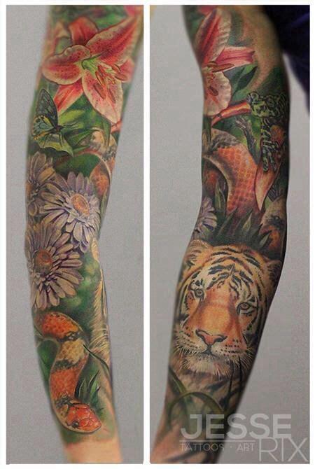 jungle sleeve tattoo jungle sleeve tattoos piercings sleeve
