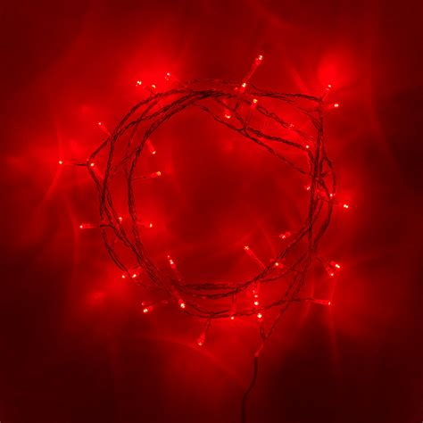 40 red led indoor fairy lights on clear cable lights4fun