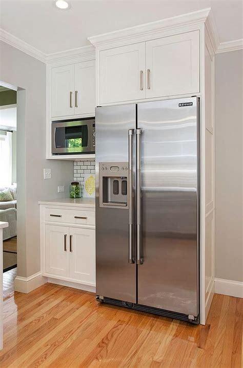Kitchen Refrigerator Cabinet by 32 Kitchen Cabinets Around Refrigerator For More Storage