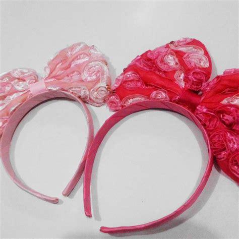 Jumper Pita Bunga Besar Pink jual bando pita besar motif renda bunga timbul mira