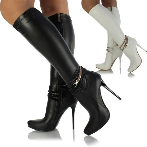 womens knee high leather style stiletto heel