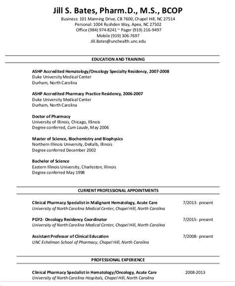 Pharmacist Curriculum Vitae by 9 Pharmacist Curriculum Vitae Templates Pdf Doc Free