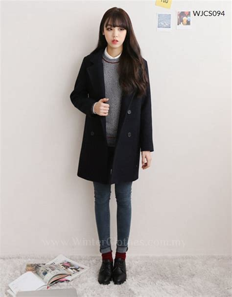 Korean Black Style korean style casual trench coat winter clothes