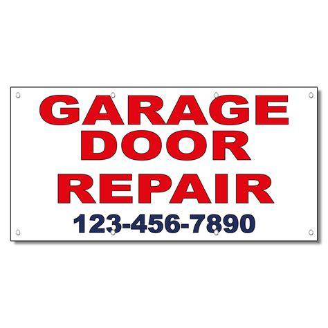 Cus Garage by Garage Door Repair Phone Custom Blue Vinyl Banner Sign