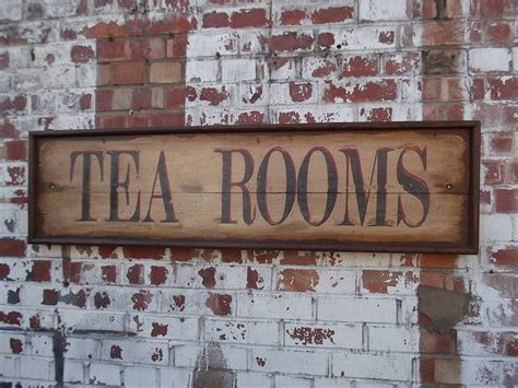 large tea rooms sign by woods vintage home interiors