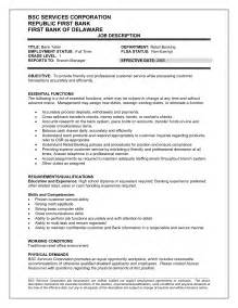 teller description resume bank teller duties and