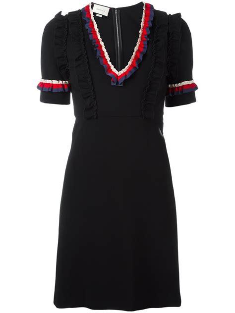 Nuhijab Web Dress Black gucci web trim ruffled dress in black lyst