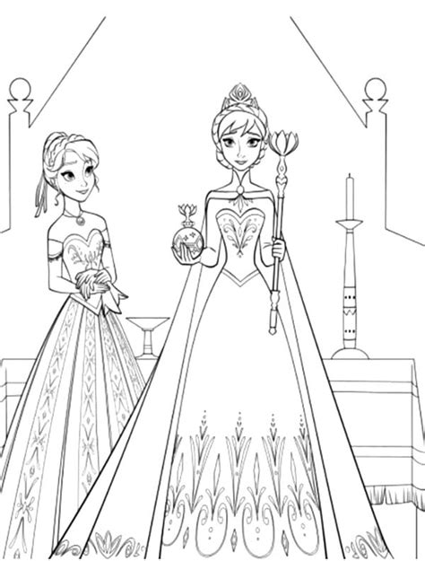 queen elsa and princess anna coloring pages coronation dress of queen free colouring pages