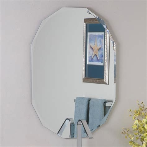 Frameless Mirrors For Bathroom Shop Decor 23 6 In X 31 5 In Oval Frameless Bathroom Mirror At Lowes