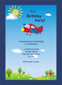 skies airplane ride boys birthday invitation