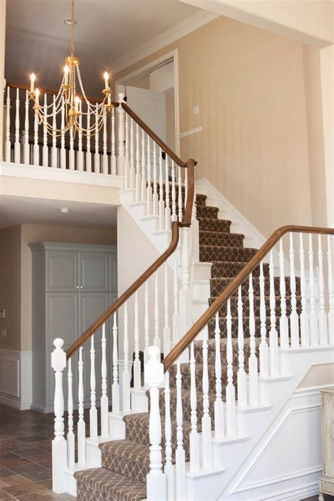 new stair banister white gold before after client cosmetic update